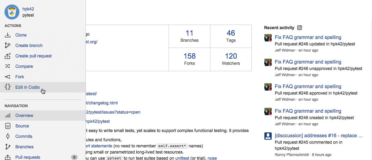 From repo to web IDE in one click - Codio & BitBucket integration